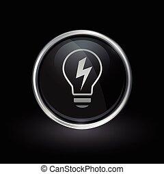 lightbulb, emblem, el, energi, inderside, sølv, sort, omkring, ikon