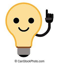 lightbulb, emoticon, isolé