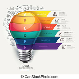 lightbulb, en, doodles, iconen, set.