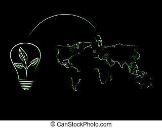 lightbulb, energia, encarregando, mundo, folhas, renovável