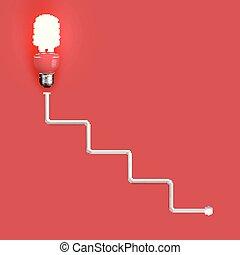lightbulb, energia, ilustração, vetorial, fios, poupador
