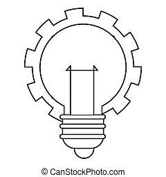 lightbulb, engrenage, icône