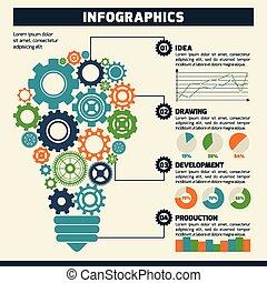 lightbulb, engrenage, infographics