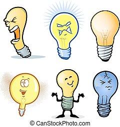 lightbulb, ensemble, homme