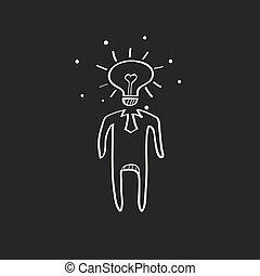 lightbulb, esboço, -, cabeça, pretas, ícone