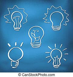 lightbulb, estilo, jogo, ícones, -, esboço, tinta