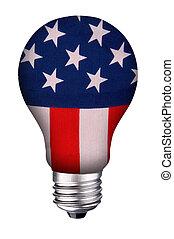 lightbulb flag - incondescent lightbulb with the United...