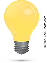 lightbulb, fond blanc, jaune