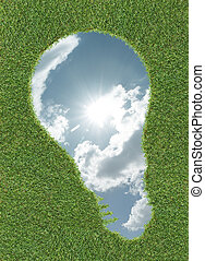 lightbulb, forme, herbe, ciel