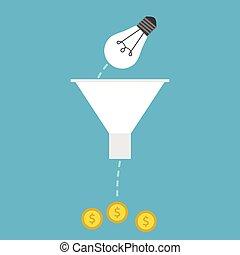 Lightbulb, funnel and money - Light bulb falling into funnel...