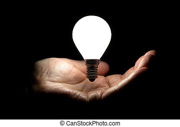 lightbulb, galleggiante, sopra, mano
