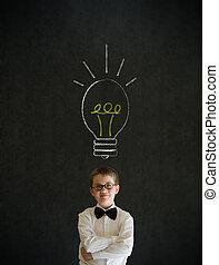 lightbulb, garçon, business, pensée, idée, craie, clair, homme