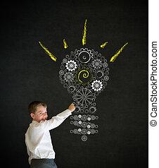 lightbulb, garçon, engrenage, business, habillé, idée, écriture, clair, dent, homme