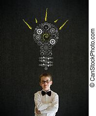 lightbulb, garçon, engrenage, business, pensée, habillé,...