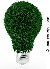 lightbulb, gemaakt, groen gras
