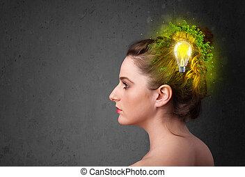 lightbulb, gondolkodó, energia, elme, fiatal, eco, zöld