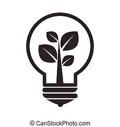lightbulb, grayscale, 植物, シルエット, 中