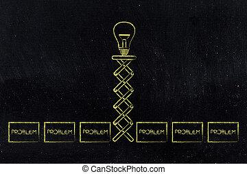 lightbulb, groupe, printemps, problèmes, idée, haut, sauter