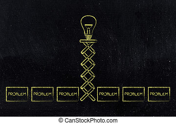 lightbulb, grupo, primavera, problemas, idéia, cima, estalar