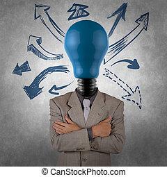 lightbulb, homme affaires, tête, créatif