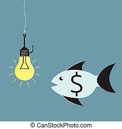 Lightbulb, hook and fish - Glowing lightbulb on fishing hook...