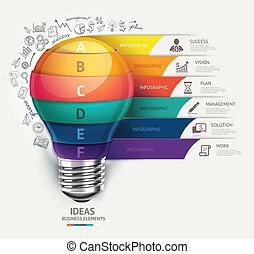 lightbulb, i, doodles, ikony, set.
