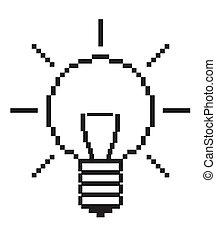 lightbulb, icône, informatique, -, vecteur