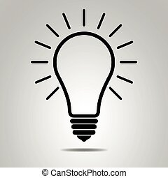Lightbulb icon. Black light bulb