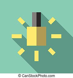 Glowing yellow lightbulb icon. Inspiration, insight, invention, idea, innovation, hint and advice concept. Flat style. EPS 8 vector illustration, no transparency