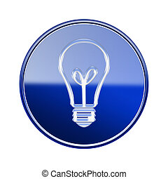 lightbulb icon glossy blue, isolated on white background