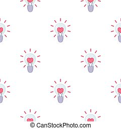 Lightbulb icon in cartoon style isolated on white background. Romantic pattern stock vector illustration.