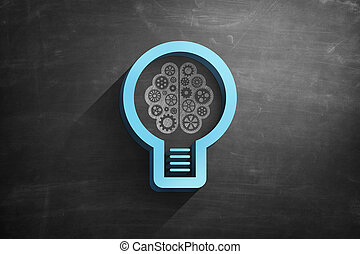 Lightbulb icon on blackboard