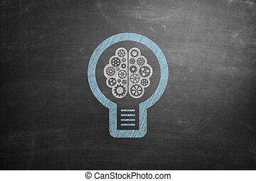 Lightbulb icon on blackboard