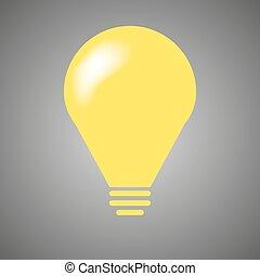 Yellow light bulb - vector illustration.