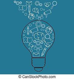 lightbulb, icons., idea, handlowy, twórczy