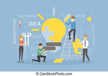 lightbulb, idée, puzzle.