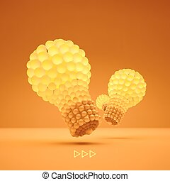 Lightbulb. Idea concept. 3d illustration. Can be used for business presentation.
