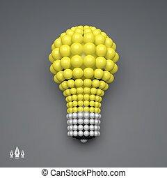 Lightbulb. Idea Concept. 3D Illustration for Marketing, Website, Business Presentation. 3d Spheres Composition. Vector illustration for Science, Technology, Web Design. Futuristic Technology Style.