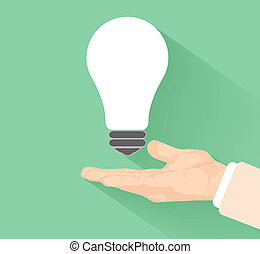 Lightbulb idea concept with hand at flat design and long...