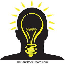 lightbulb idea - a man with a lightbulb idea