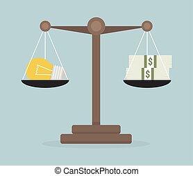 Lightbulb ideas and money balance on the scale