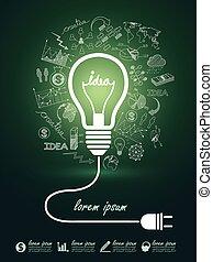 lightbulb ideas - idea concept with light bulbs on...
