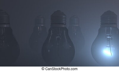 Orange lightbulb on a black background
