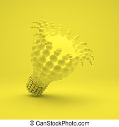 lightbulb., idee, concept., 3d, abbildung, für, marketing, website, geschaeftswelt, presentation., 3d, bereiche, composition., vektor, abbildung, für, wissenschaft, technologie, web, design., zukunftsidee, technologie, style.