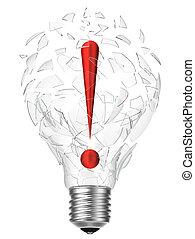 lightbulb, idee, uitroepteken