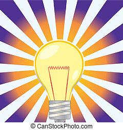 lightbulb, illustratated, luz irradia