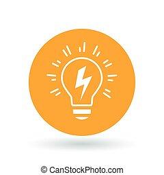 lightbulb, illustration., el, tegn., glimt, ide, symbol., vektor, begrebsmæssig, icon.