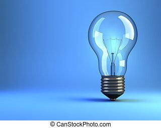 Illustration of incandescent light bulb on blue background - 3d render