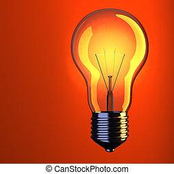Lightbulb - Illustration of incandescent light bulb on red...