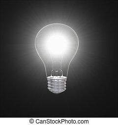 Lightbulb in dark - Shining lightbulb illustration isolated...